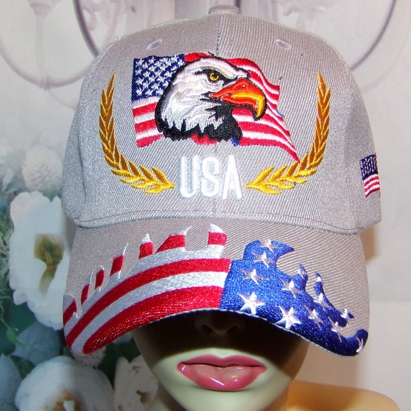 USA Eagle Hat American Flag 3D Like Gray Patriotic Boutique